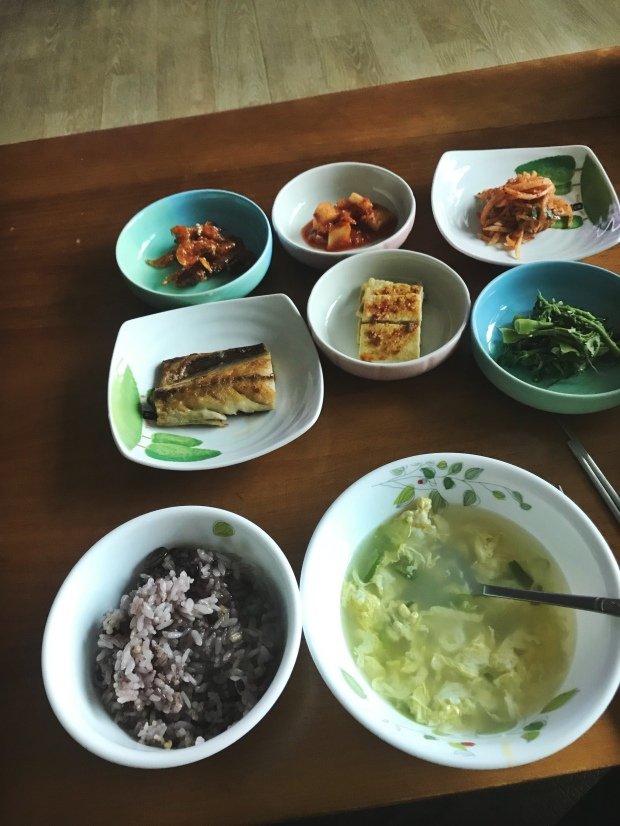 One of many breakfast spreads|| Muju, South Korea